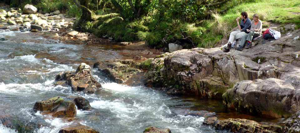 Relaxing at the Lower Falls, Glen Nevis