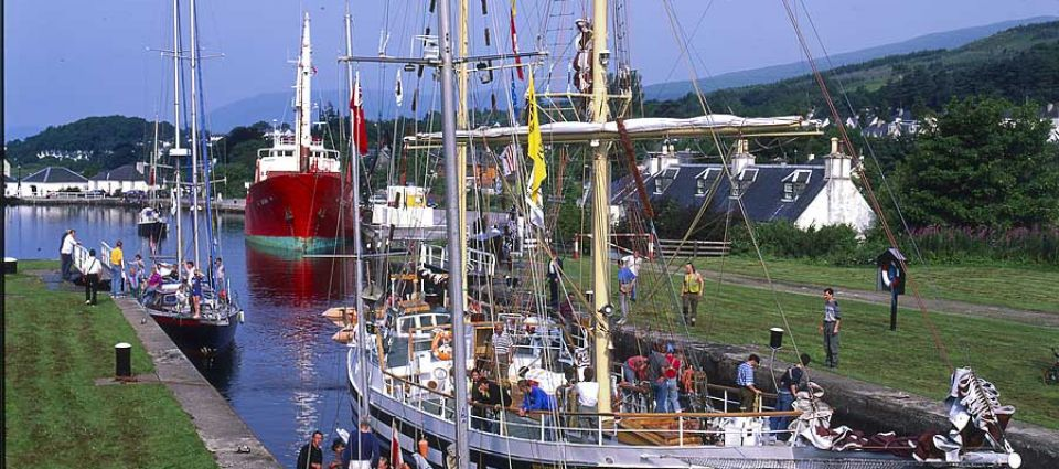 A tall ship in the Canal at Corpach