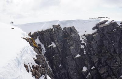 Two summit walkers