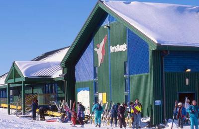 Skiiers at the top Gondola station